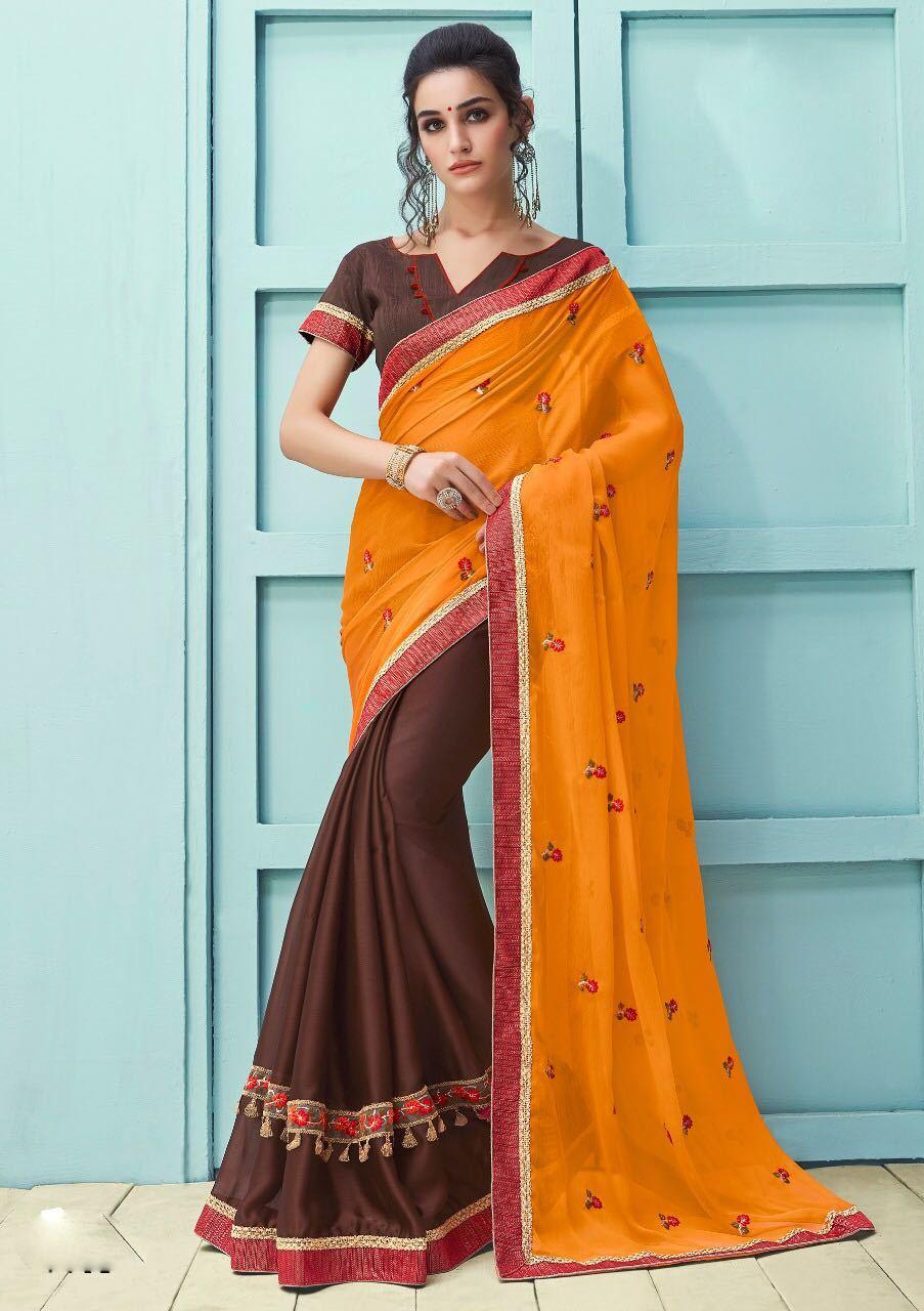 Orange latest embroidery Festive Wear sarees