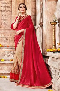 Orange latest embroidery Festive Wear sarees