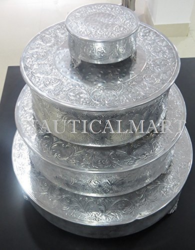 NauticalMart Silver Finish Round Wedding Cake Stand Set Of 4