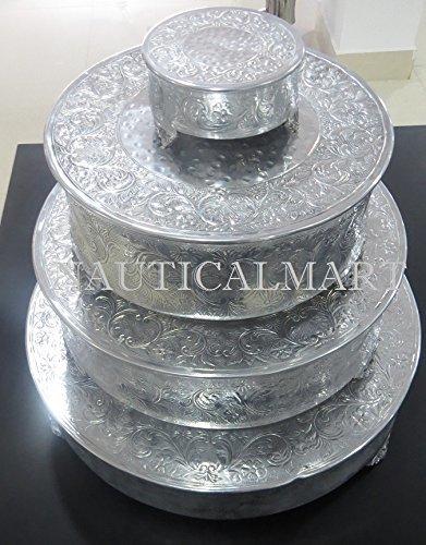 NauticalMart Silver Finish Round Wedding Cake Stand Set Of 4