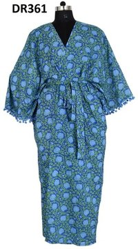 10 Cotton Hand Block Long Womens Kimono Robe with Pompom DR361