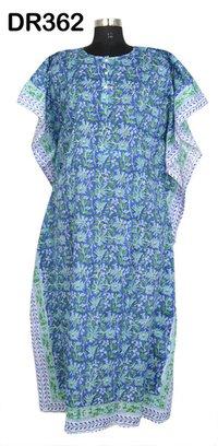 10 Cotton Hand Block Printed Long Womens Kaftan DR362