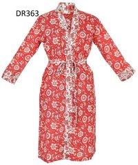 10 Cotton Hand Block Print Long Womens Kimono Robe DR363