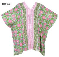 10 Cotton Hand Block Print Short Kaftan DR367