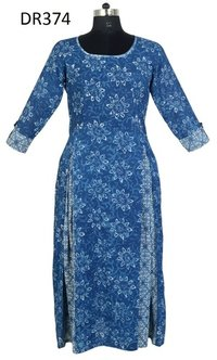 10 Cotton Hand Block Printed Long Womens Dress DR374