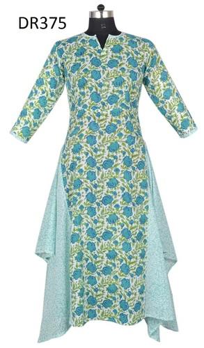 10 Cotton Hand Block Printed Long Womens Dress DR375