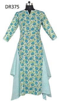 10 Cotton Hand Block Printed Long Womens Dress DR375