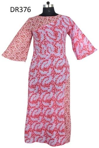10 Cotton Hand Block Printed Long Womens Dress DR376