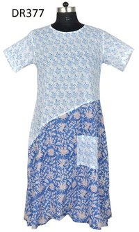10 Cotton Hand Block Printed Long Womens Dress DR377