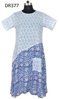 10 Cotton Hand Block Printed Long Womens Dress DR377