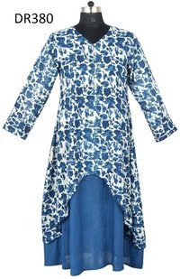 10 Cotton Hand Block Printed Long Womens Dress DR380