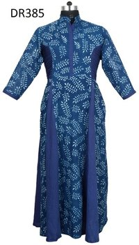 10 Cotton Hand Block Printed Long Womens Dress DR385