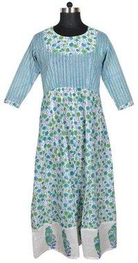 10 Cotton Hand Block Printed Long Womens Dress DR386