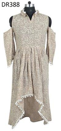 10 Cotton Hand Block Printed Long Womens Dress DR388