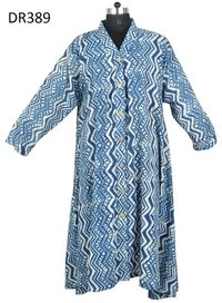 10 Cotton Hand Block Printed Long Womens Dress DR389