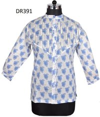 10 Cotton Hand Block Print Short Women Shirt DR391