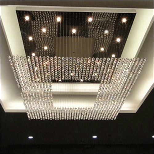 Flush Mount Rectangular Crystal Chandelier