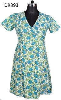 10 Cotton Hand Block Print Top Short Women Dress DR393