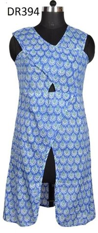 10 Cotton Hand Block Print Long Womens Dress DR394