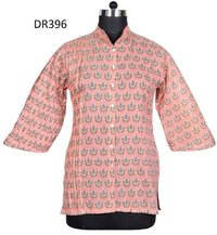 10 Cotton Hand Block Print Women Shirt DR396