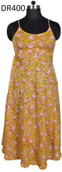 10 Cotton Hand Block Print Spaghetti Sleepwear Women Dress DR400