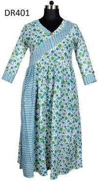 10 Cotton Hand Block Printed Long Womens Dress DR401