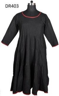 10 Cotton Plain Solid Color Womens Dress Dr403