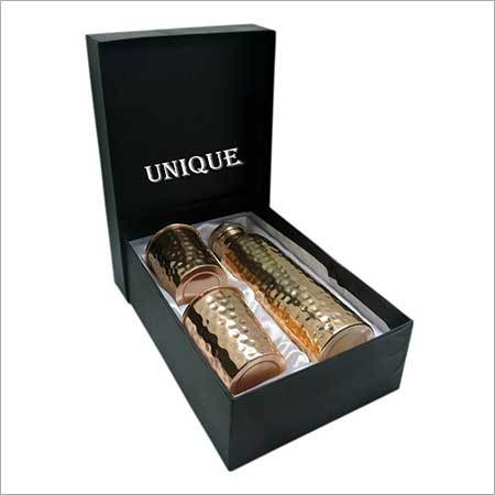 Copper Bottle With Two Glass Set Box Packing