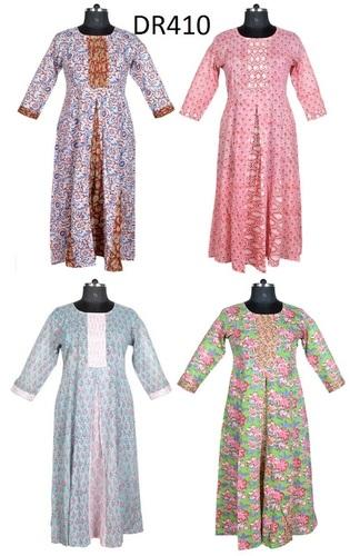 10 Cotton Hand Block Printed Long Womens Dress DR410
