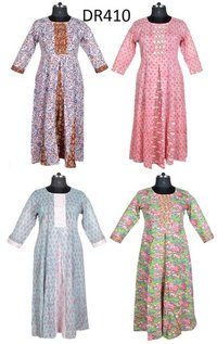 10 Cotton Hand Block Printed Long Womens Dress DR410