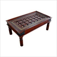 Coffe Table With Glass Antique