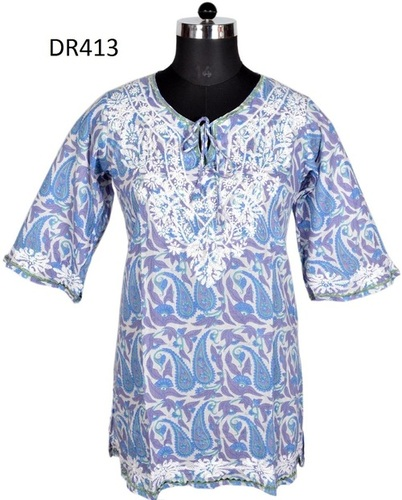 10 Cotton Hand Block Print Hand Embroidered Womens Top DR413