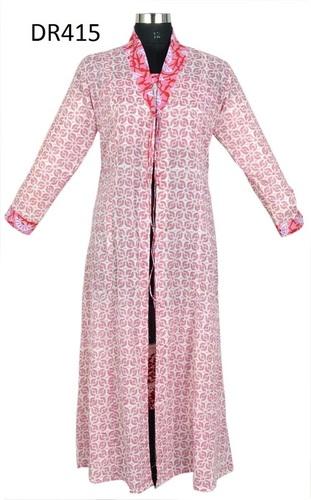 10 Cotton Hand Block Printed Long Womens Robe Dress DR415