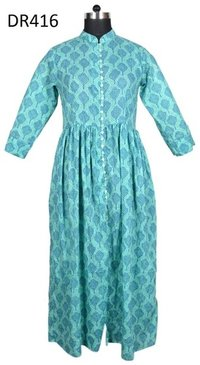 10 Cotton Hand Block Printed Long Womens Dress DR416