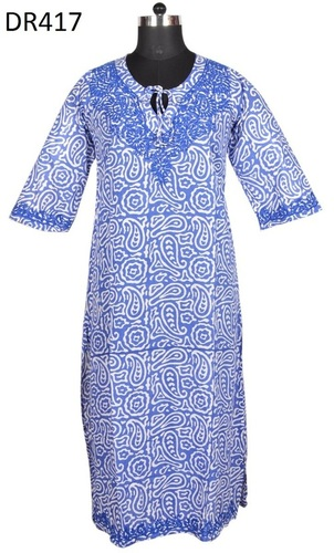 10 Cotton Hand Block Print Hand Embroidery Womens Dress DR417