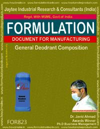 General Deodorant Composition Formulation