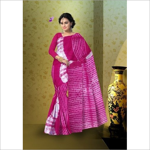 Shibori Print Cotton Mulmul Saree