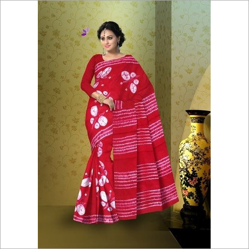 Shibori Print Cotton Saree with Blouse