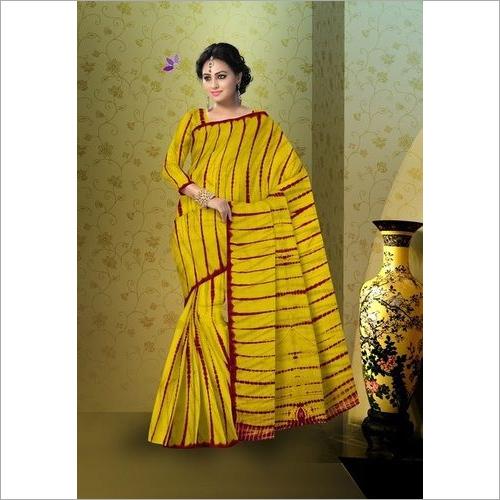 Shibori Print Cotton Mulmul Saree With Blouse