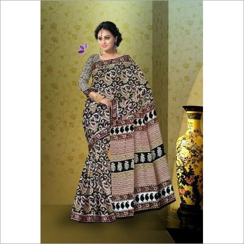 Hand Block Print kalamkari Cotton Mulmul Saree
