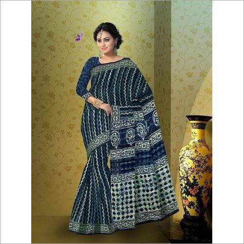 Hand Block Indigo Print Cotton Saree