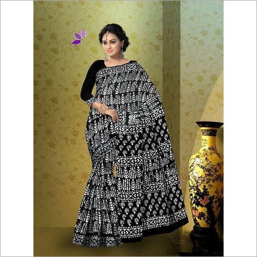 Hand Block Indigo Cotton Mulmul Saree