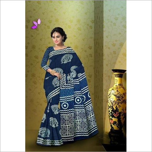 Indigo Print Cotton Mulmul Saree