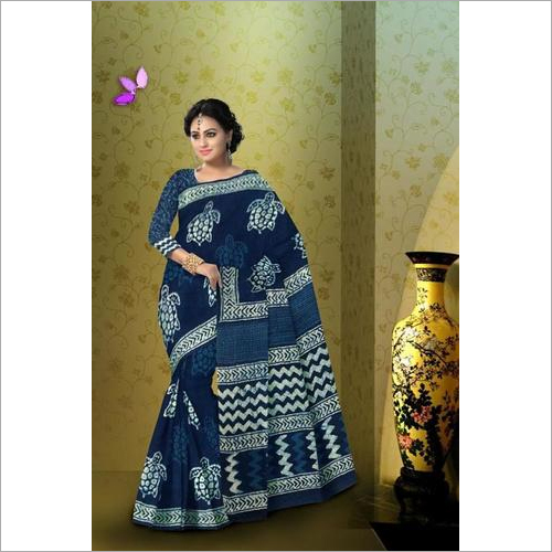Indigo Print Cotton Mulmul Saree with Blouse