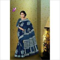 Indigo Print Cotton Mulmul Saree with Blouse