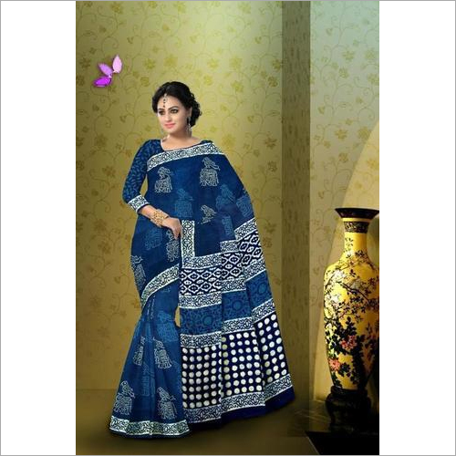 Hand Block Print Indigo Cotton Saree