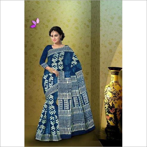 Hand Block Printed Indigo Saree