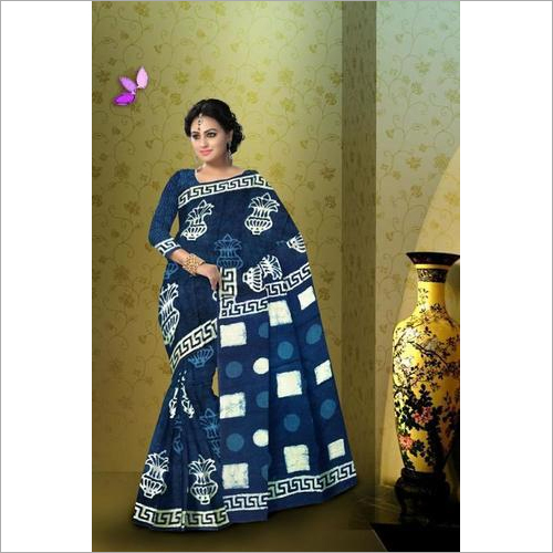 Hand Block Indigo Saree