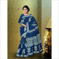Hand Block Print Indigo Saree with Blouse