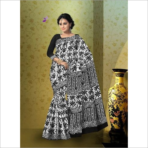 Hand Block Indigo Cotton Saree